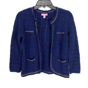 Lilly Pulitzer Navy Blue Rosa Cardigan Sweater